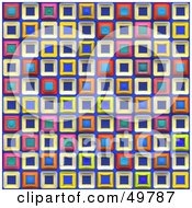 Royalty Free RF Clipart Illustration Of A Funky Background Of Colorful Squares On Blue by Arena Creative