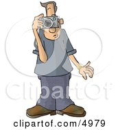 Male Tourist Taking Pictures With A Digital Camera Clipart