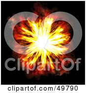 Royalty Free RF Clipart Illustration Of A Fiery Explosion On Black