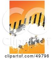 Orange Hazard Stripes And Splatter Background