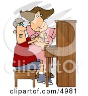 Female Piano Teacher Trying To Teach A Teenage Boy How To Play A Standard Piano Clipart by djart
