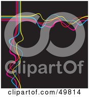 Royalty Free RF Clipart Illustration Of A Black Background With Squiggly Pink Blue And Yellow Waves
