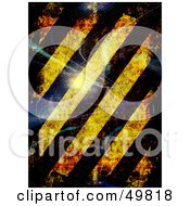 Royalty Free RF Clipart Illustration Of A Bright Whisp Of Light And Hazard Stripes With Grunge