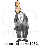 Alert Businessman Standing And Waiting With Hands In Pockets Clipart