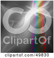 Royalty Free RF Clipart Illustration Of A Bright Flare Over A Halftone Rainbow On Gray