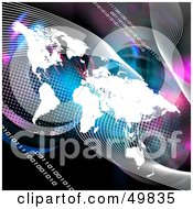 Royalty Free RF Clipart Illustration Of A White World Atlas With Lines And Binary Code On A Colorful Background