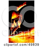 Royalty Free RF Clipart Illustration Of A Fiery Skateboarder Jumping On Black by Arena Creative