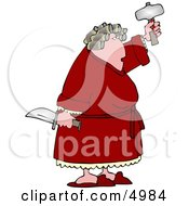 Crazy Woman With PMS Holding A Knife And Hatchet Clipart