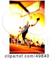 Royalty Free RF Clipart Illustration Of A Fiery Basketball Player Jumping Towards A Hoop by Arena Creative