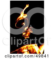Royalty Free RF Clipart Illustration Of A Fiery Skateboarder Catching Air On A Ramp by Arena Creative