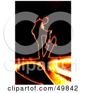 Royalty Free RF Clipart Illustration Of A Fiery Skateboarder On Black by Arena Creative