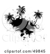 Royalty Free RF Clipart Illustration Of A Black Palm Tree Island Silhouette On White by Arena Creative