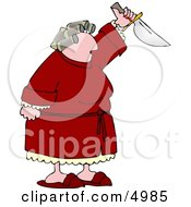 Angry Woman With PMS Preparing To Kill Someone With A Knife Clipart