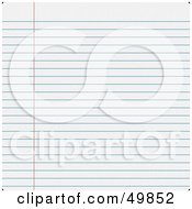 Royalty Free RF Clipart Illustration Of A Sheet Of Blank Ruled Paper