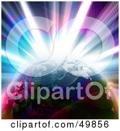Royalty Free RF Clipart Illustration Of A Colorful Explosion Behind Planet Earth With Waves