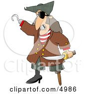 Pirate With Missing Teeth Hook Hand Holding A Knife And A Wooden Leg Clipart