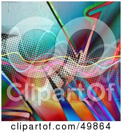 Royalty Free RF Clipart Illustration Of A Funky Halftone Background With Graffiti And Squiggly Lines