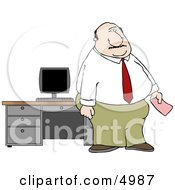 Office Man Holding A Pink Slip Clipart