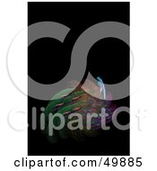 Royalty Free RF Clipart Illustration Of A Colorful Peacock Feather Fractal On Black