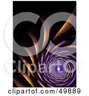 Royalty Free RF Clipart Illustration Of A Purple And Orange Petal Like Fractal Tunnel On Black by Arena Creative