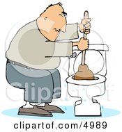 Man Plunging A Clogged Toilet Clipart
