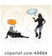 Royalty Free RF Clipart Illustration Of Two Silhouetted Teen Girls Reading And Talking With Bubbles