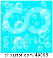 Royalty Free RF Clipart Illustration Of A Blue Background Of Transparent And Shiny Floating Bubbles
