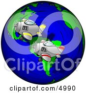 Planes Racing Around the World Clipart by Dennis Cox