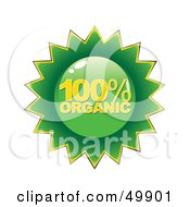 Royalty Free RF Clipart Illustration Of A Green 100 Percent Organic Label
