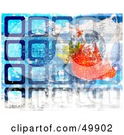 Royalty Free RF Clipart Illustration Of A Strawberry Splashing Into Water With Blue Squares