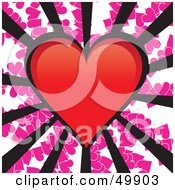Royalty Free RF Clipart Illustration Of A Red Heart With Black Rays On A Pink Heart Background