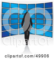 Royalty Free RF Clipart Illustration Of A Black Silhouetted Female In Front Of Blue Television Displays by Arena Creative
