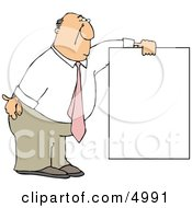 Businessman Wearing A Pink Tie And Holding A Blank Sign Clipart by djart
