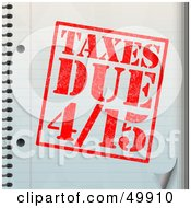 Royalty Free RF Clipart Illustration Of A Taxes Due Stamp On A Notebook