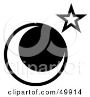 Royalty Free RF Clipart Illustration Of A Star Near The Moon On White by Arena Creative