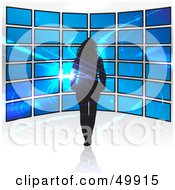 Royalty Free RF Clipart Illustration Of A Woman Walking Towards A Television Display Wall In A Store With A Fractal by Arena Creative
