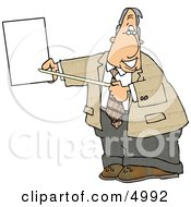 Smiling Male Lawyer Pointing At An Important Blank Piece Of Paper Clipart