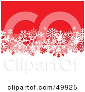 Royalty Free RF Clipart Illustration Of A White And Red Background Divided By White Snowflakes by Arena Creative