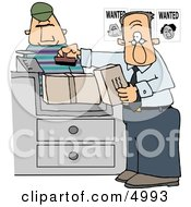 Wanted Man Mailing A Package At The Post Office Clipart by Dennis Cox