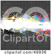 Royalty Free RF Clipart Illustration Of A Tiled Gray Background With Halftone Dots And A CMYK Text Box by Arena Creative