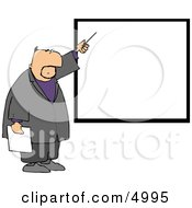 Businessman Pointing At A Blank Board On A Wall Clipart