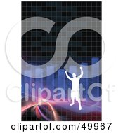 Royalty Free RF Clipart Illustration Of A Successful Silhouetted Man On A Fractal Wave With A Bar Graph by Arena Creative