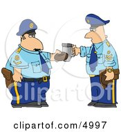 Policemen Toasting Donut And Coffee Cup Together