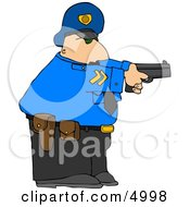 Alert Policeman Pointing His Pistol At A Criminal