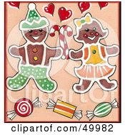 Royalty Free RF Clipart Illustration Of A Gingerbread Cookie Couple With Candy