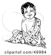 Royalty Free RF Clipart Illustration Of A Happy Baby With Bubbles Playing With A Rubber Duck