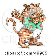 Royalty Free RF Clipart Illustration Of A Fat Cat Dancing And Wearing A Hawaiian Shirt