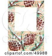 Royalty Free RF Clipart Illustration Of A White Text Box With A Wintry Pinecone Border by LoopyLand