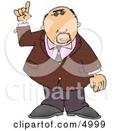 Well Dressed Man Pointing Finger Up Clipart