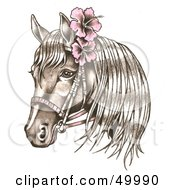 Bridled Horse Wearing Pink Hibiscus Flowers In Its Mane